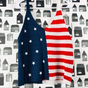 Moon & Madison | American Flag Knit Tank Top